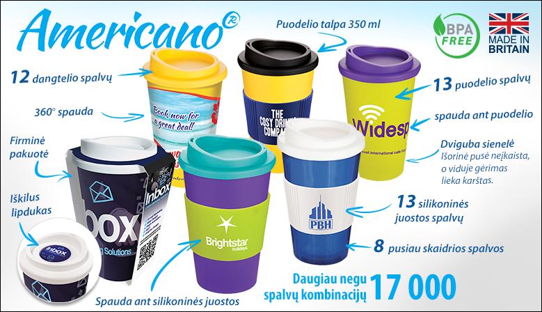 """Reklaminis puodelis """"Americano®"""" su dangteliu"""